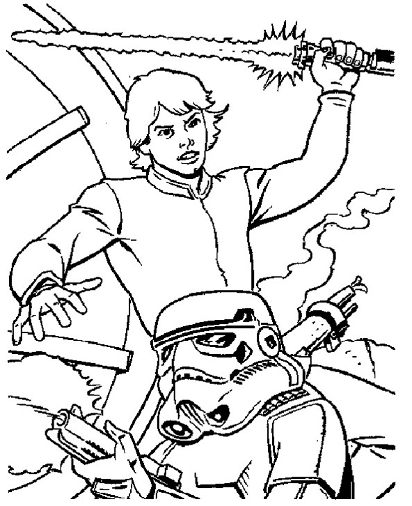 16 dessins de coloriage star wars luke skywalker imprimer for Luke skywalker coloring page