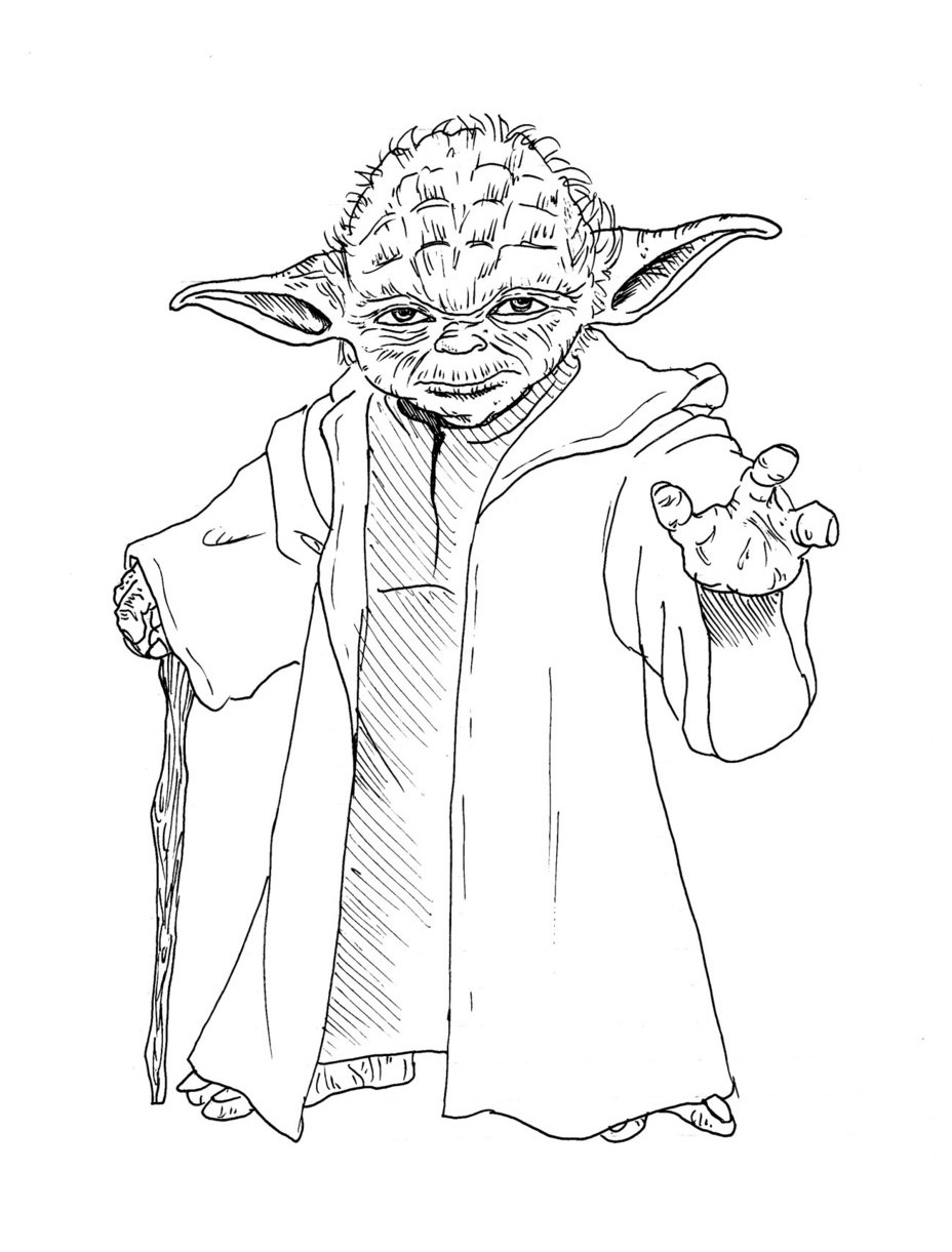 Line Drawing Yoda : Dessins de coloriage star wars yoda à imprimer