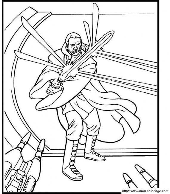 dessin à colorier star wars sabre laser