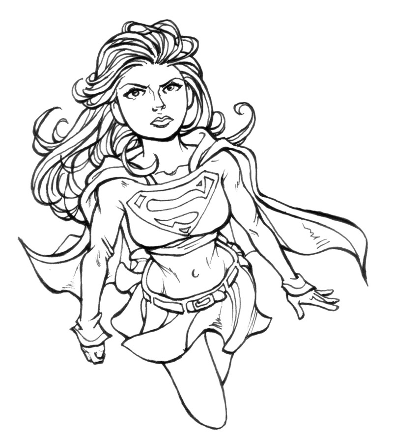coloriage à dessiner supergirl