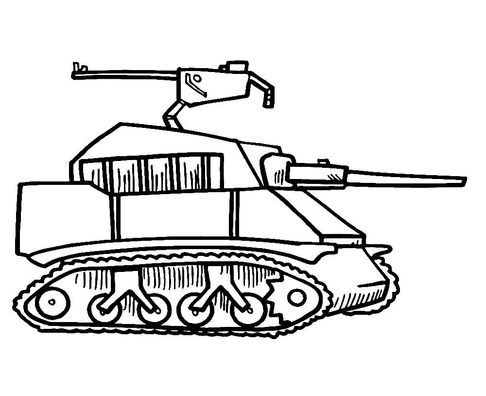 coloriage gratuit de tank