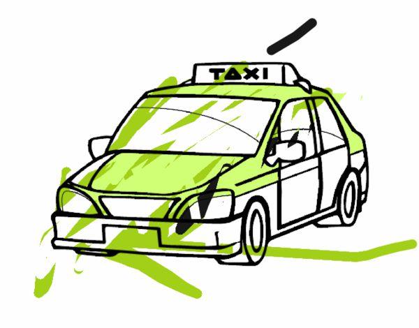dessin à colorier taxi jaune