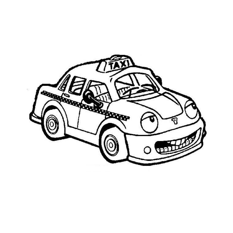 dessin coloriage taxi anglais