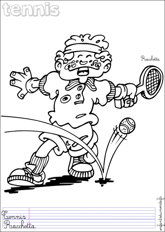 dessin � colorier tennis de table a imprimer
