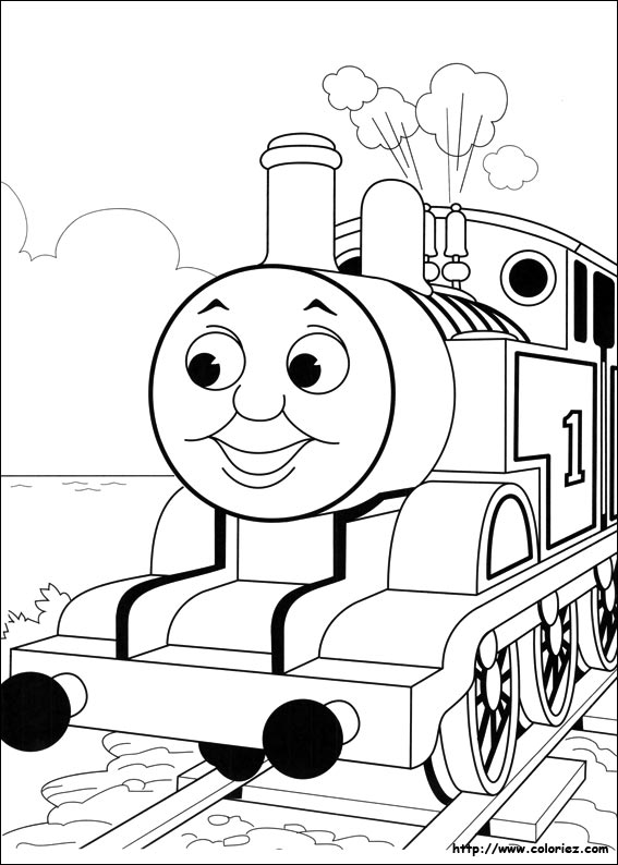 dessin à colorier thomas le train et ses amis