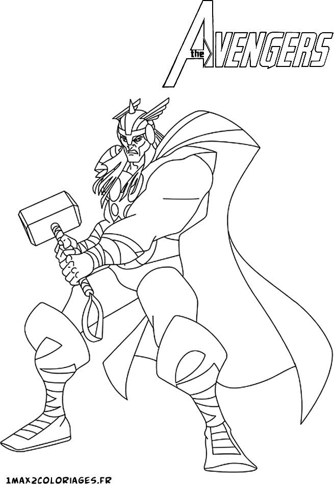 dessin à colorier thor