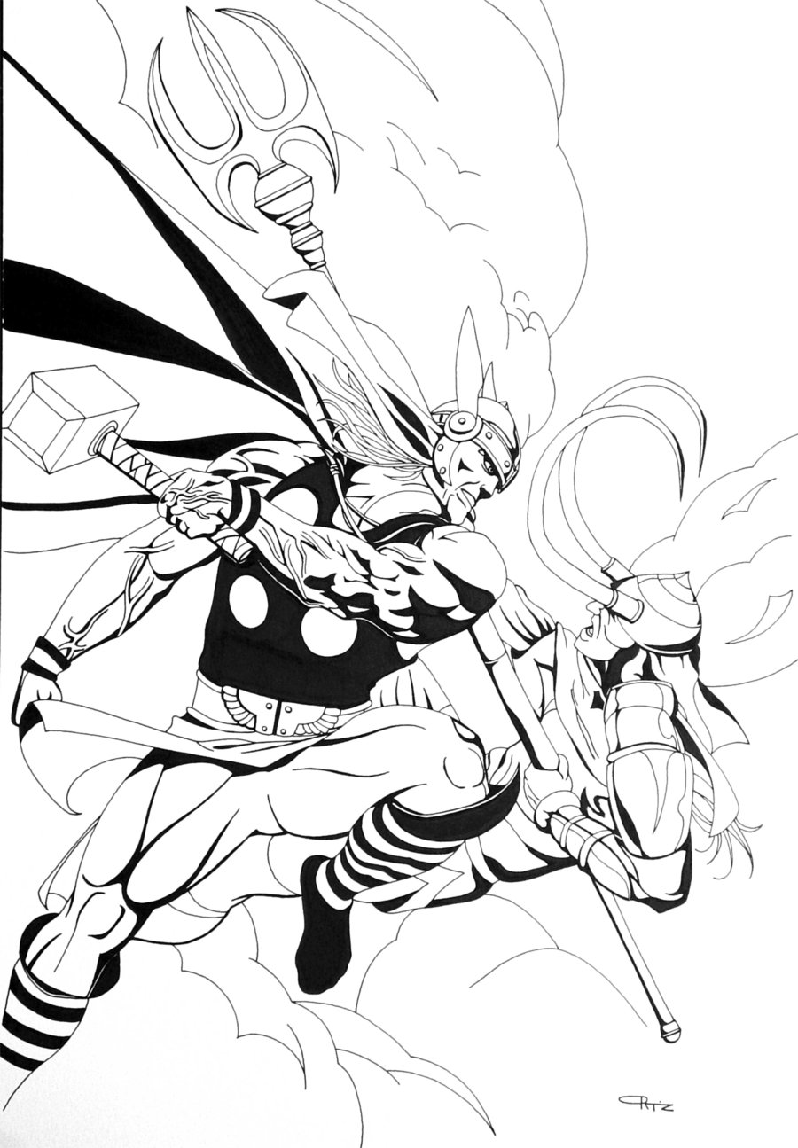 coloriage à dessiner thor avengers