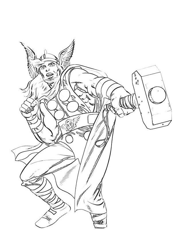 coloriage à dessiner heros thor