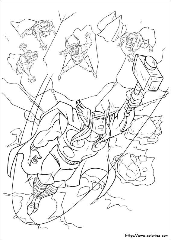 dessin à colorier thor 2