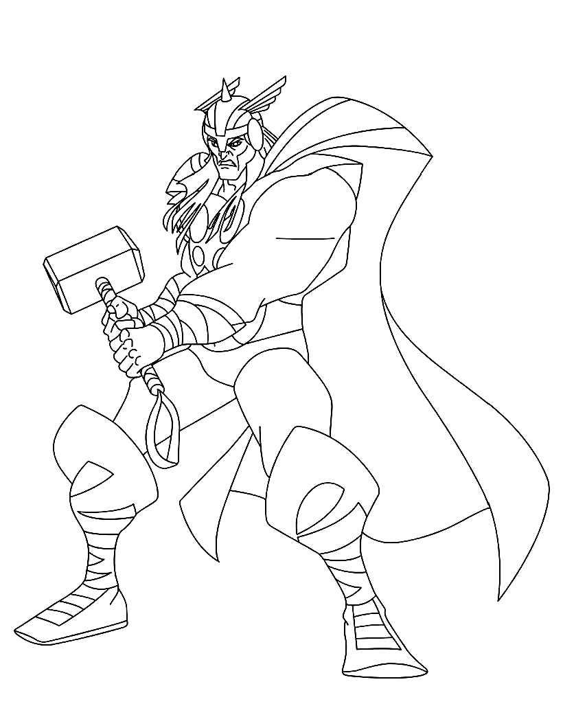 coloriage à dessiner thor