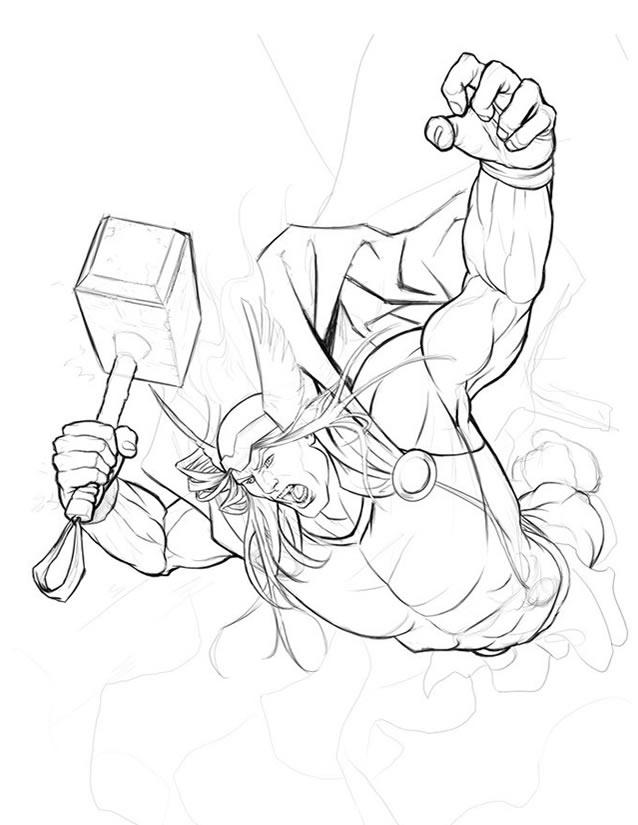 dessin thor avengers