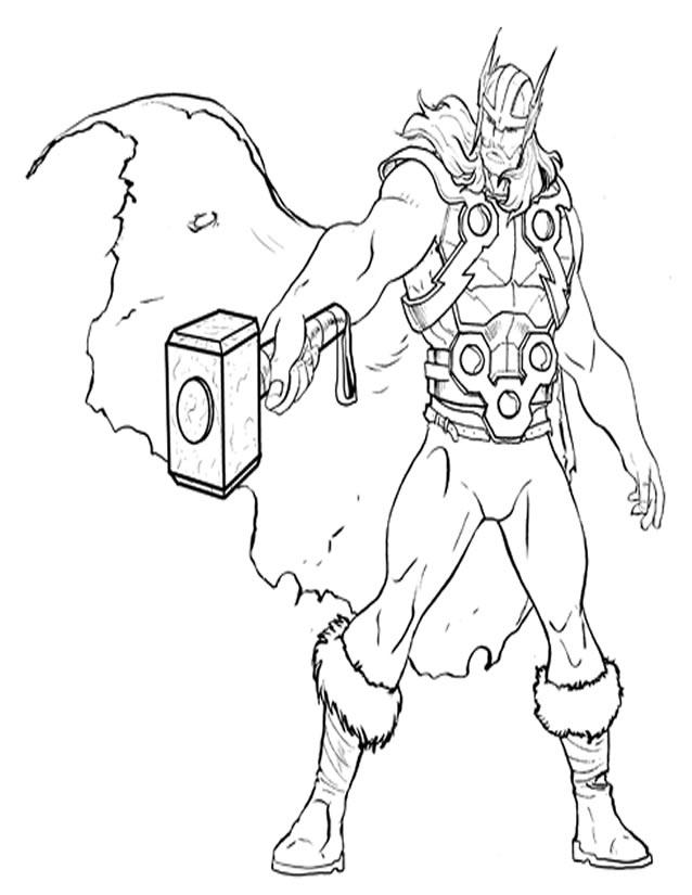 coloriage à dessiner thor à imprimer gratuit
