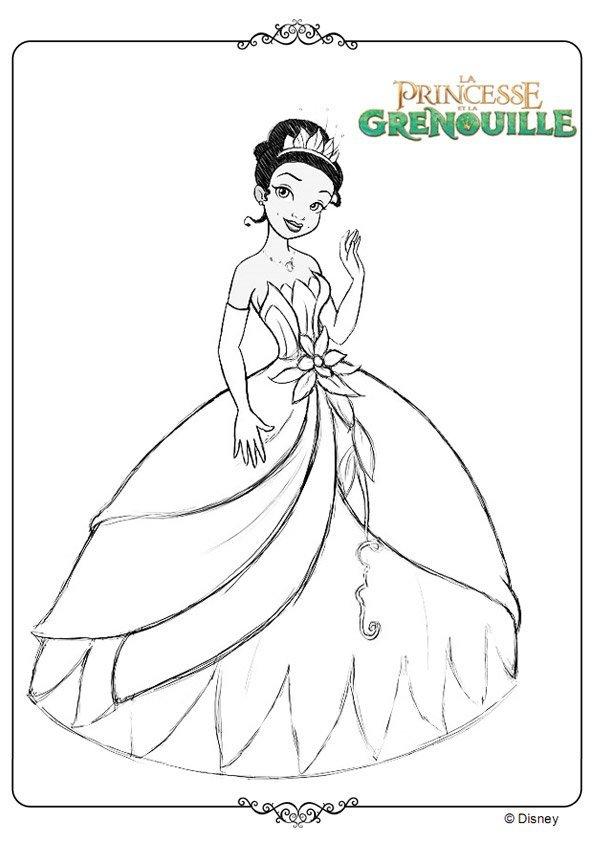 dessin à colorier tiana et son prince