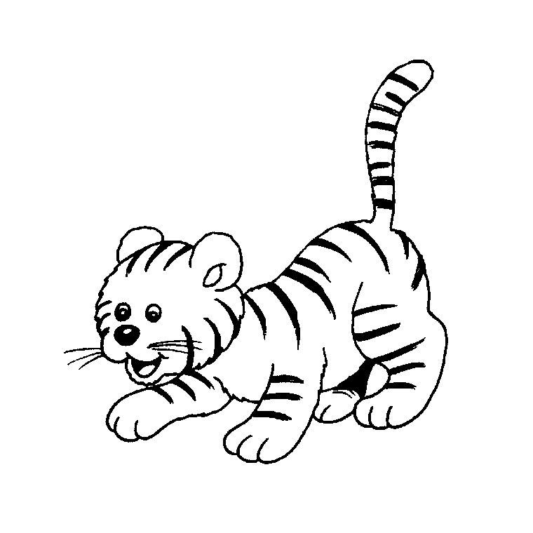 coloriage à dessiner en ligne bébé tigre