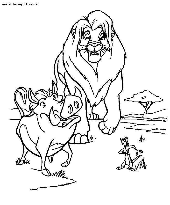 coloriage à dessiner timon et pumba a imprimer