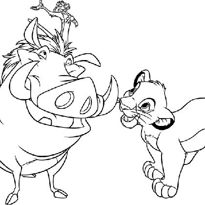 dessin � colorier timon et pumba
