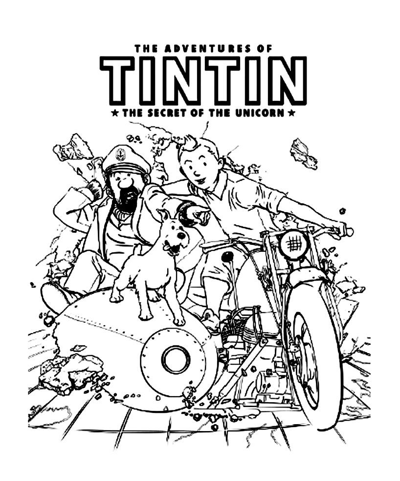 Coloriage Bateau La Licorne Tintin.Dessin Gratuit Tintin Et Milou
