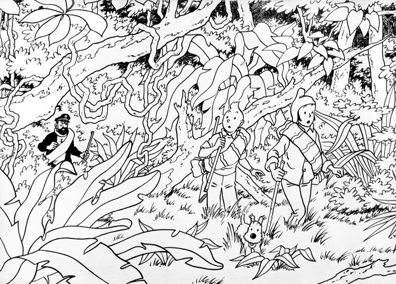 coloriage à dessiner tintin et le secret de la licorne à imprimer