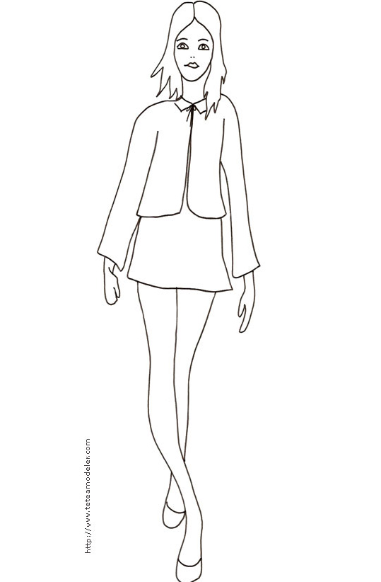coloriage de top model a habiller a imprimer