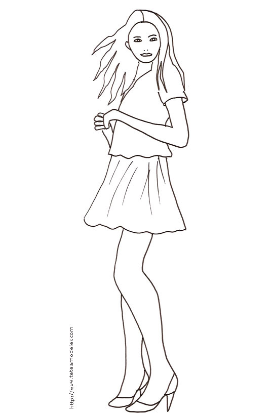 Mode Top Model Coloriage Fille.Coloriage De Fille Top Model En Ligne