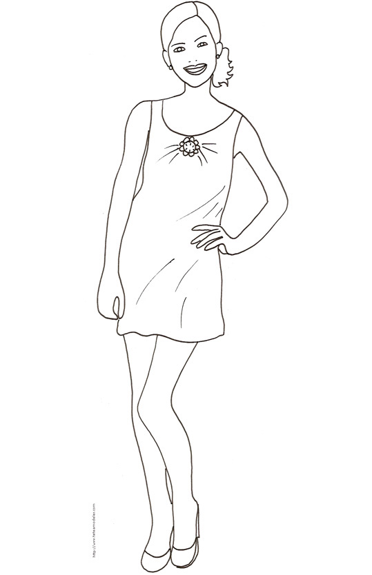 Coloriage de fille top model en ligne - Dessin de fille de mode ...