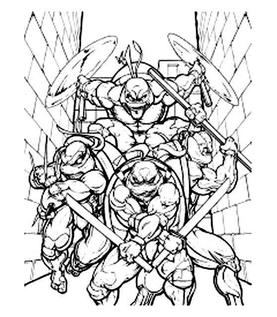 dessin à colorier tortue ninja leonardo