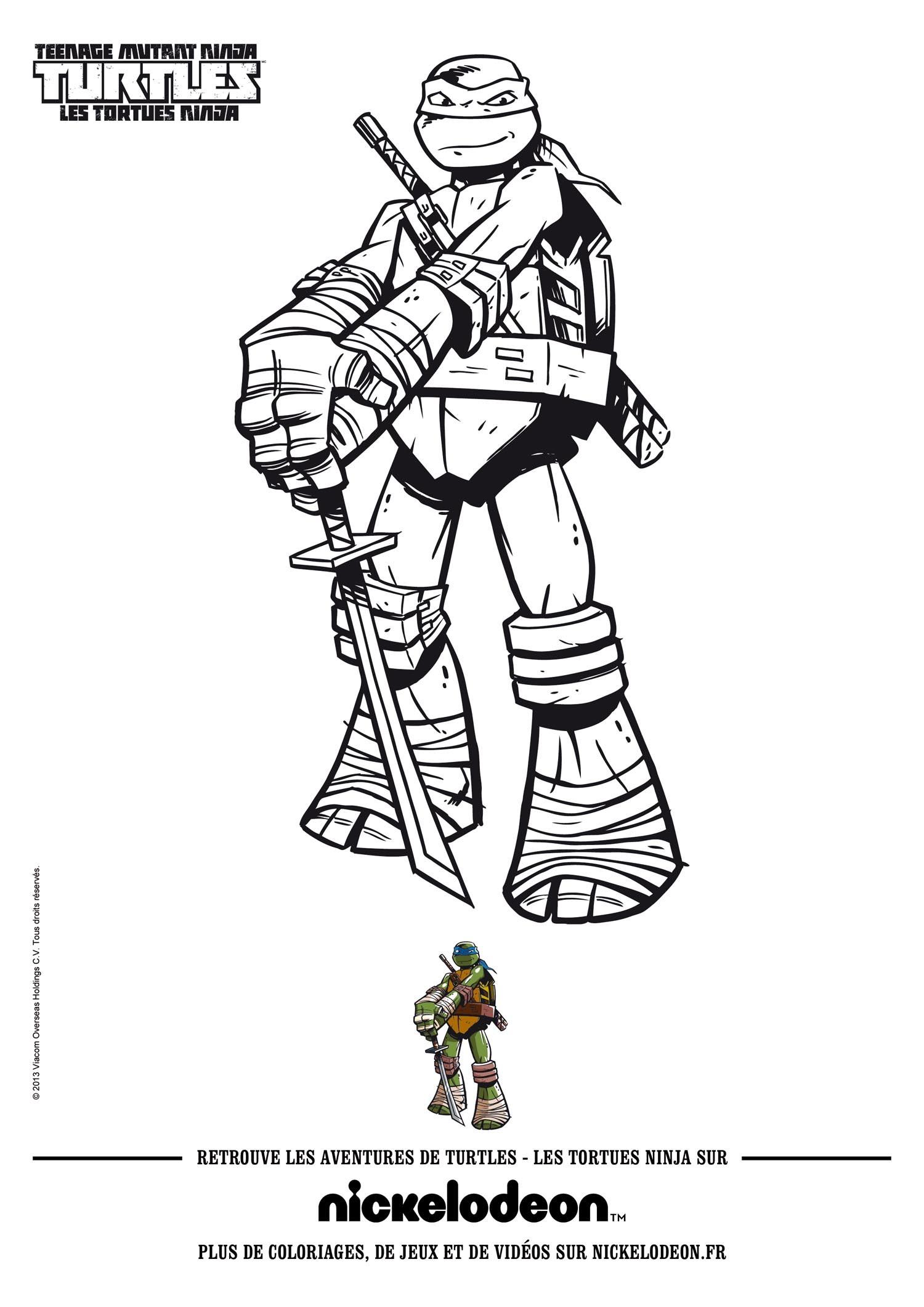 dessin à colorier tortue ninja donatello
