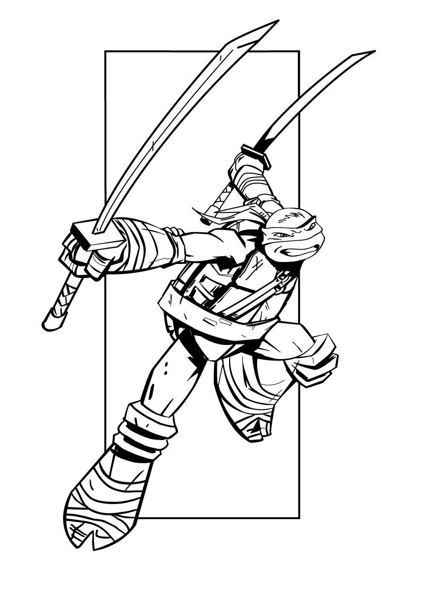 dessin à colorier tortues ninja à imprimer
