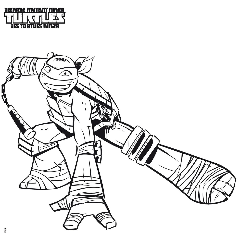 dessin à colorier tortue ninja tfou