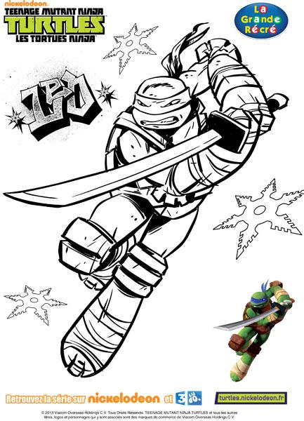 dessin à colorier tortue ninja raphael