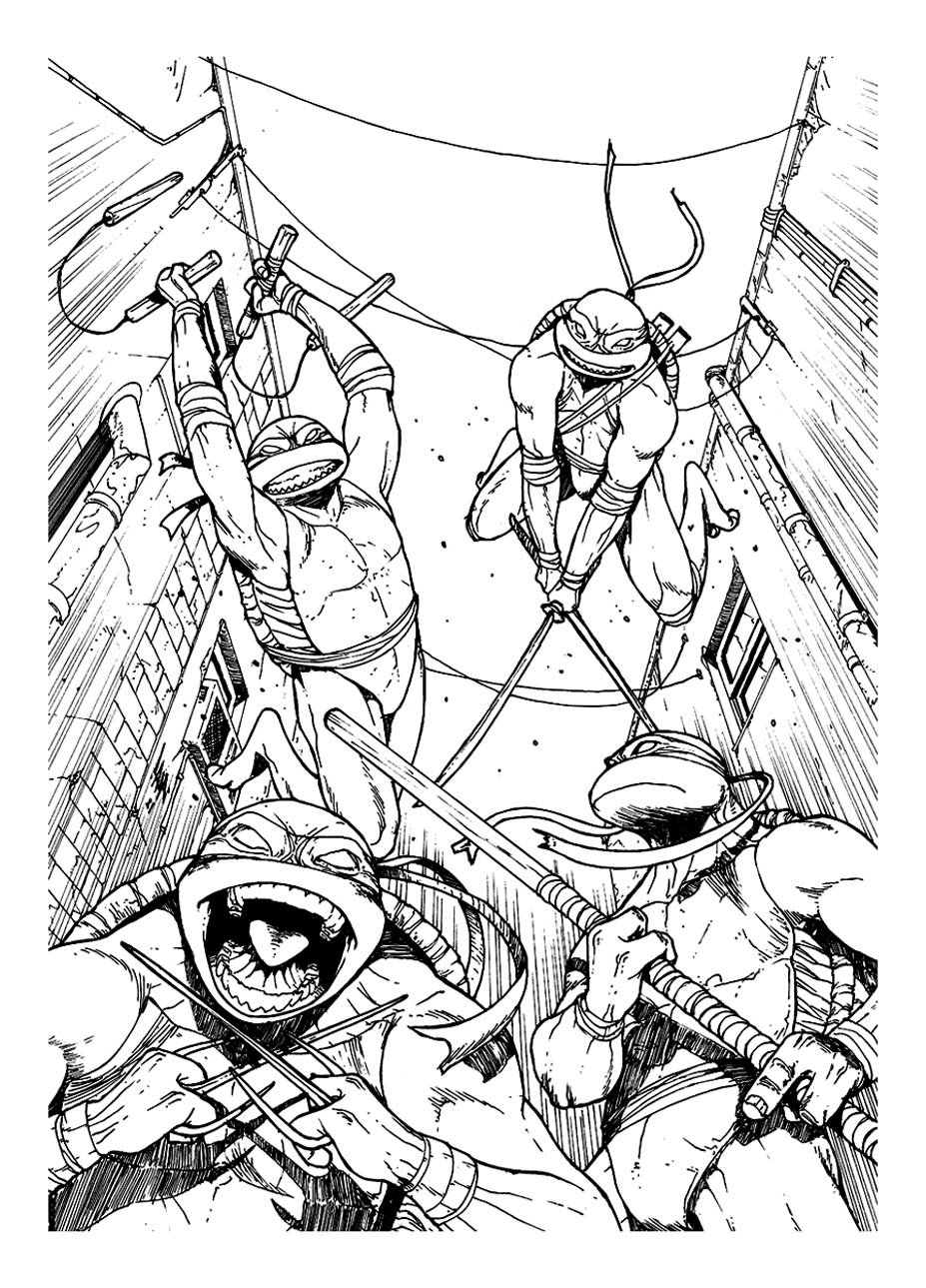 dessin à colorier 4 tortues ninja