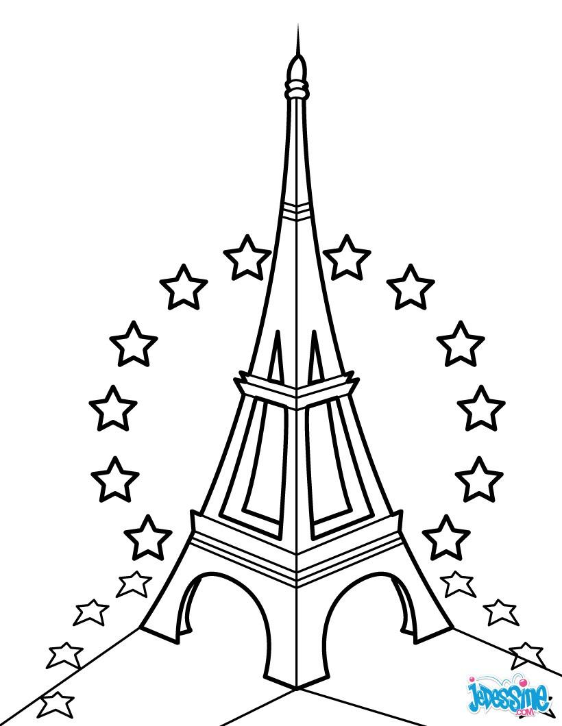 Coloriage dessiner tour eiffel noir et blanc - Dimension de la tour eiffel ...