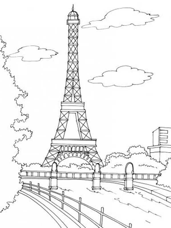 dessin à colorier tour eiffel imprimer gratuit
