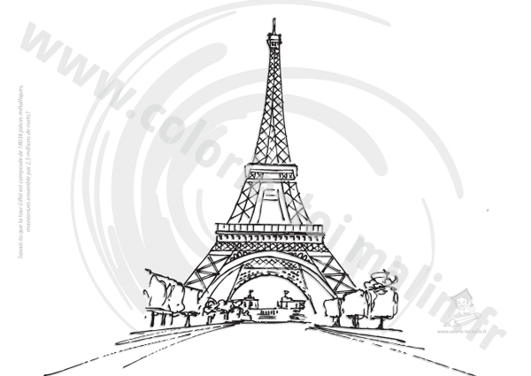 coloriage à dessiner sur la tour eiffel