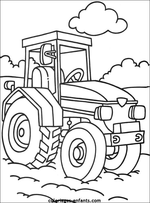 dessin à colorier tracteur et charrue