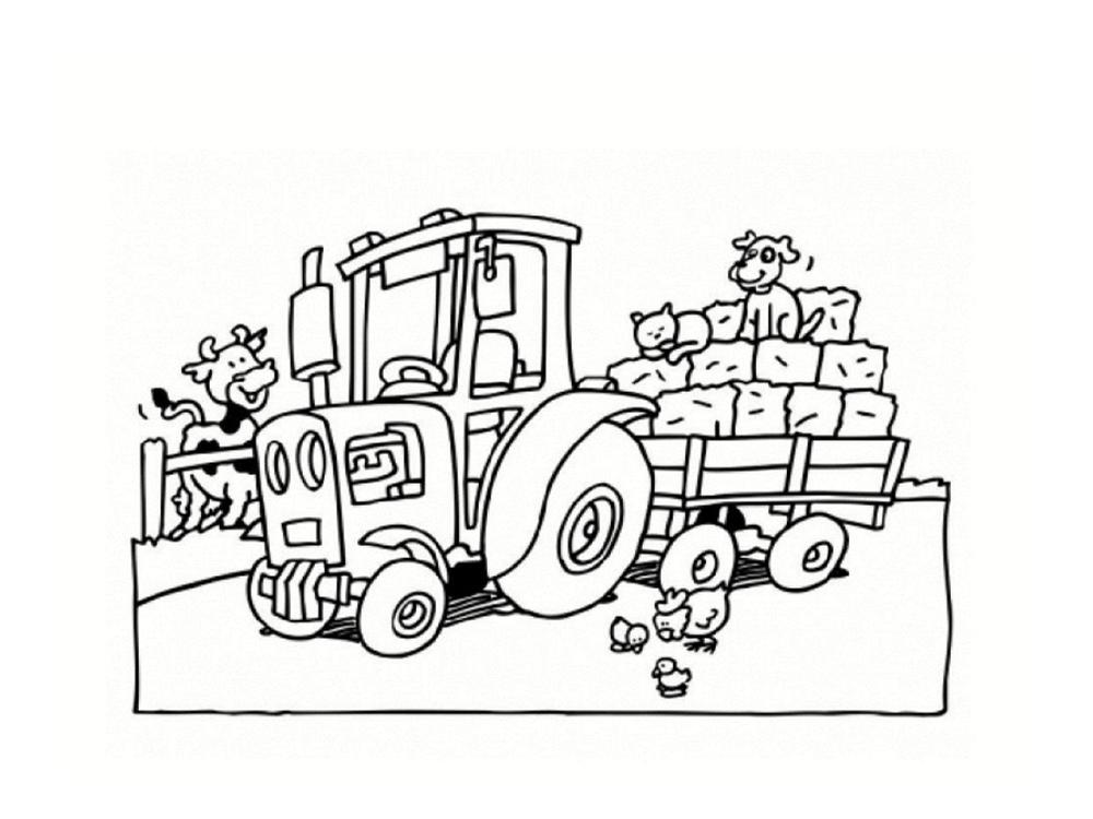 dessin a colorier tracteur avec charrue gratuit