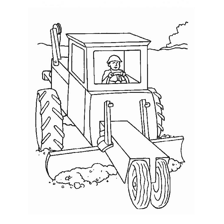 Coloriage tracteur case - Dessin a imprimer de tracteur ...