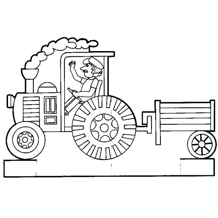 coloriage de tracteur avec une benne