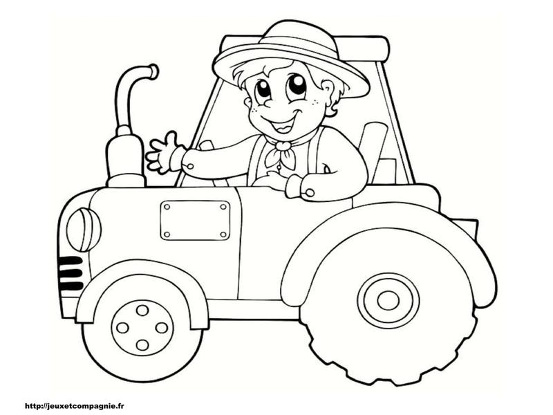 coloriage à dessiner de tracteur avec une benne