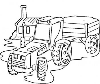 Coloriage dessiner imprimer tracteur remorque - Dessin moissonneuse ...