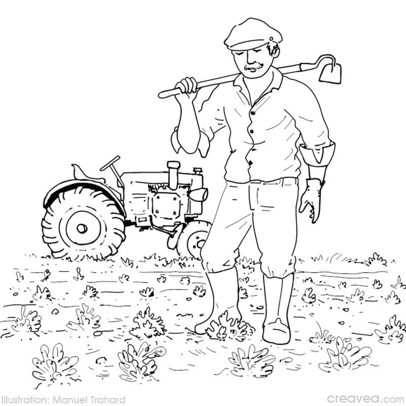 Coloriage de tracteur avec une benne - Coloriage travail ...