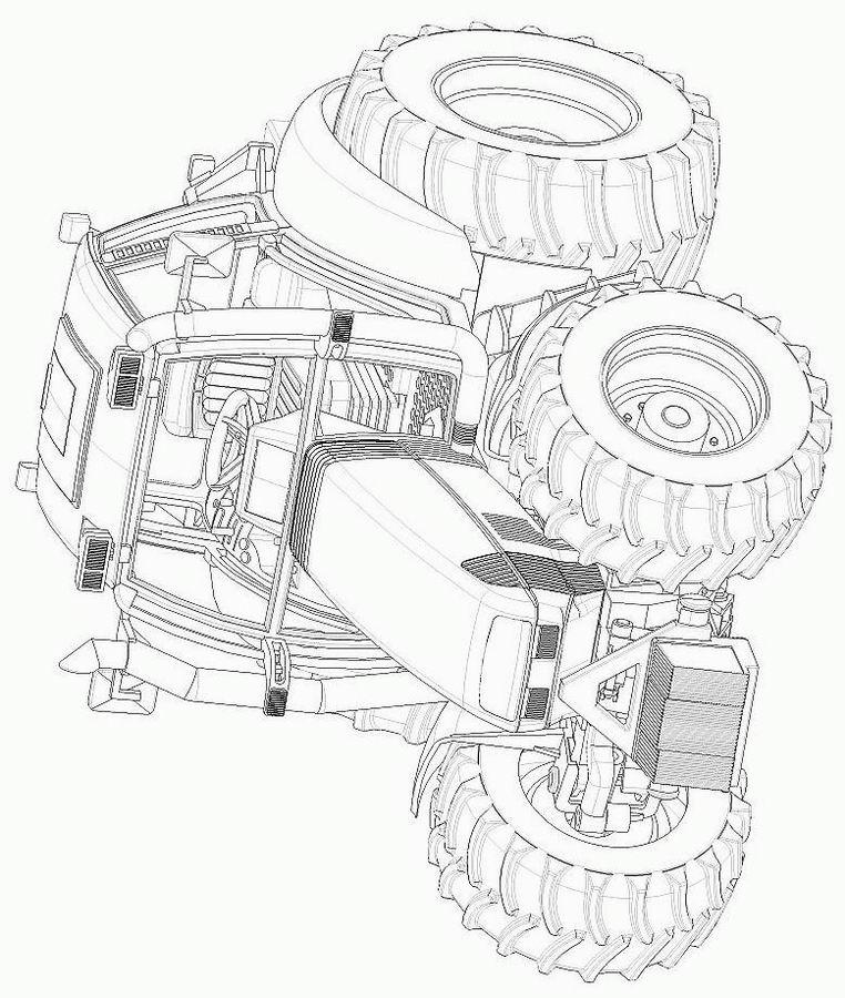 coloriage tracteur remorque à imprimer