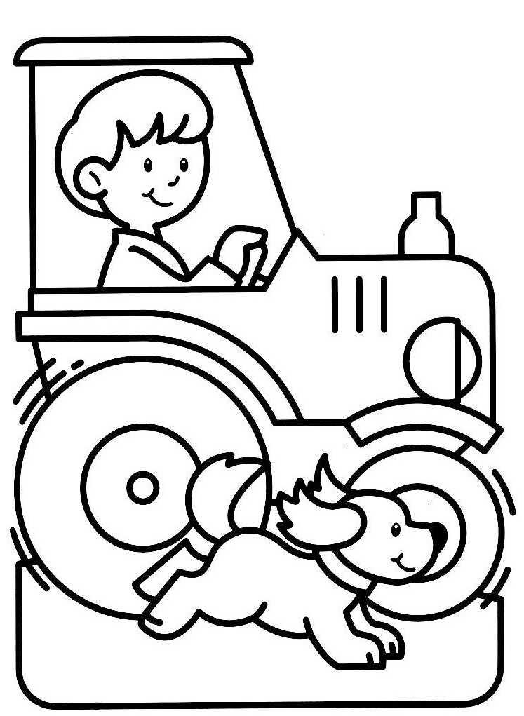 coloriage tracteur ferme