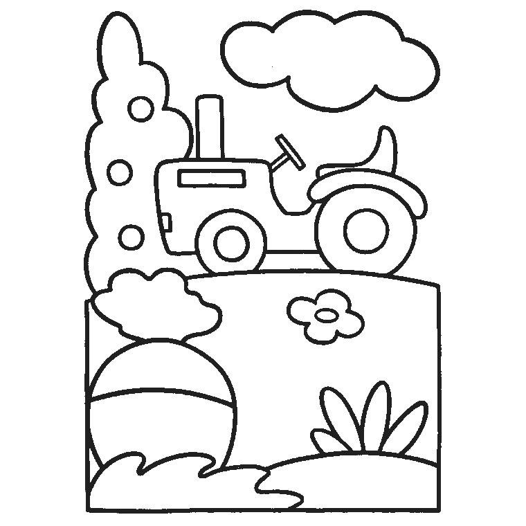 coloriage tracteur charrue