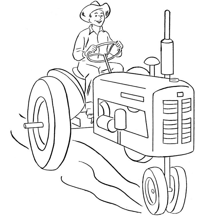dessin à colorier tracteur avec charrue gratuit