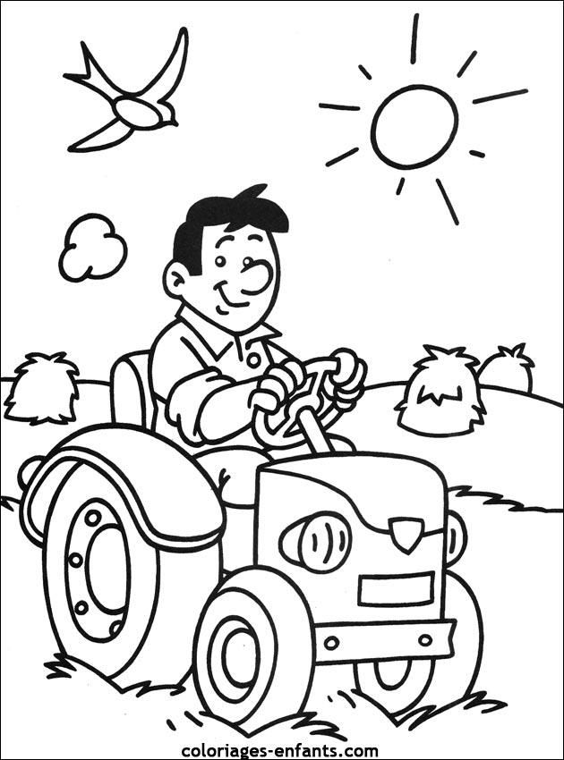 coloriage tracteur avec une fourche