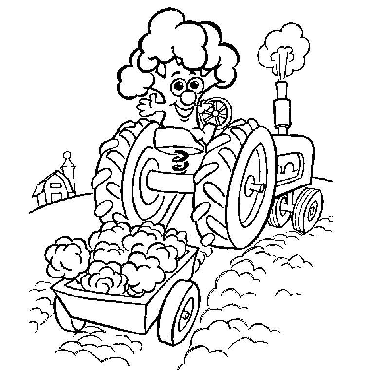 dessin à colorier tracteur avec remorque