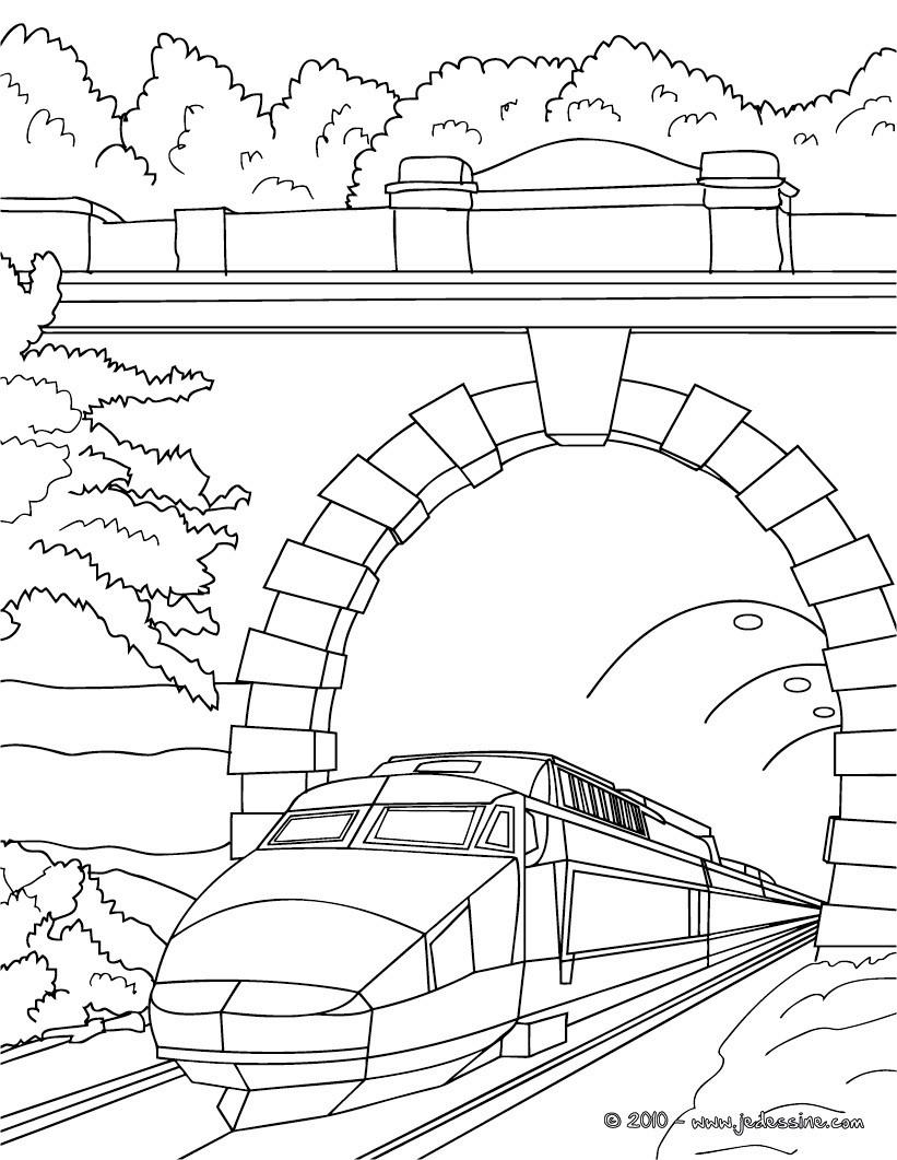 Dessin colorier de train tgv - Train coloriage ...