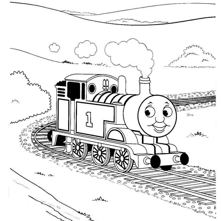 dessin à colorier train corail