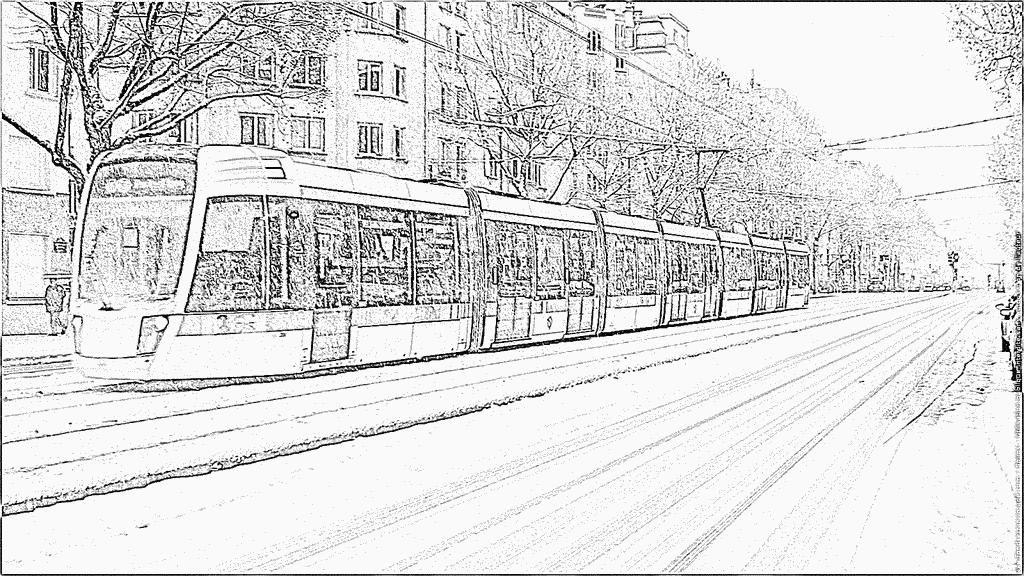 coloriage à dessiner tramway